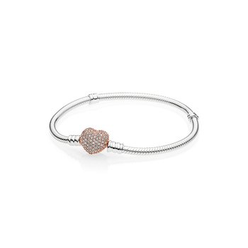 Sterling Silver Charm Bracelet With Pandora Rose™ Pavé Heart Clasp