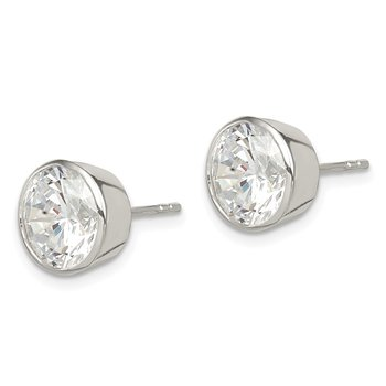 Sterling Silver 9mm CZ Round Bezel Stud Earrings
