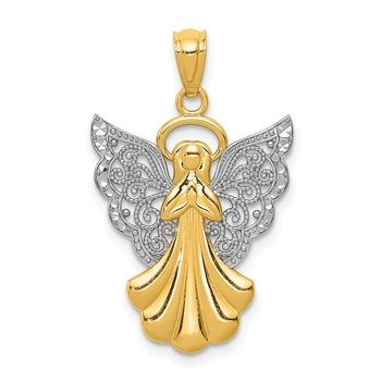 14k w/Rhodium Filigree Angel Pendant