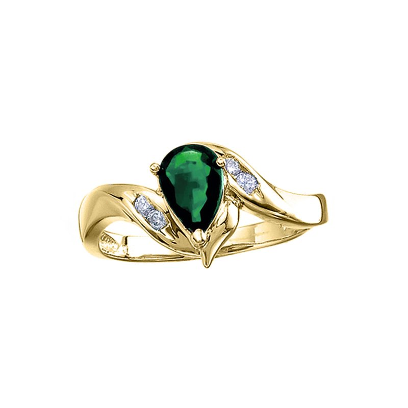 Color Merchants 14k Yellow Gold Pear Emerald And Diamond Swirl Ring