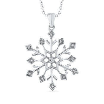 Snowflake Fashion Pendant with Chain In Sterling Silver Round White Diamond (.12 cttw)