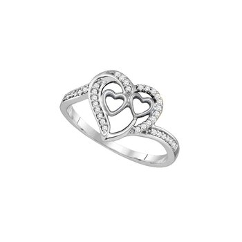 10kt White Gold Womens Round Diamond Triple Heart Love Ring 1/8 Cttw