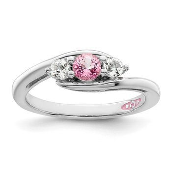 Sterling Silver Rhod-plated Survivor Clear & Pink Swarovski Topaz Sue Ring