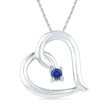 10kt White Gold Womens Round Lab-Created Blue Sapphire Heart Love Pendant 1/8 Cttw