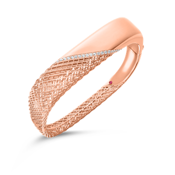 18KT GOLD SQUARE BANGLE WITH DIAMONDS