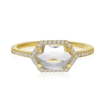 14K Yellow Gold White Topaz Hexagon and Diamond Geometric Ring