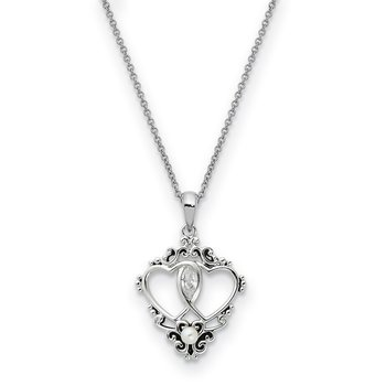 Sterling Silver Antiqued Two Hearts, One Love 18in Heart Necklace