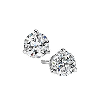 Martini Diamond Stud Earrings in 14K White Gold (1/3 ct. tw.) I1 - G/H