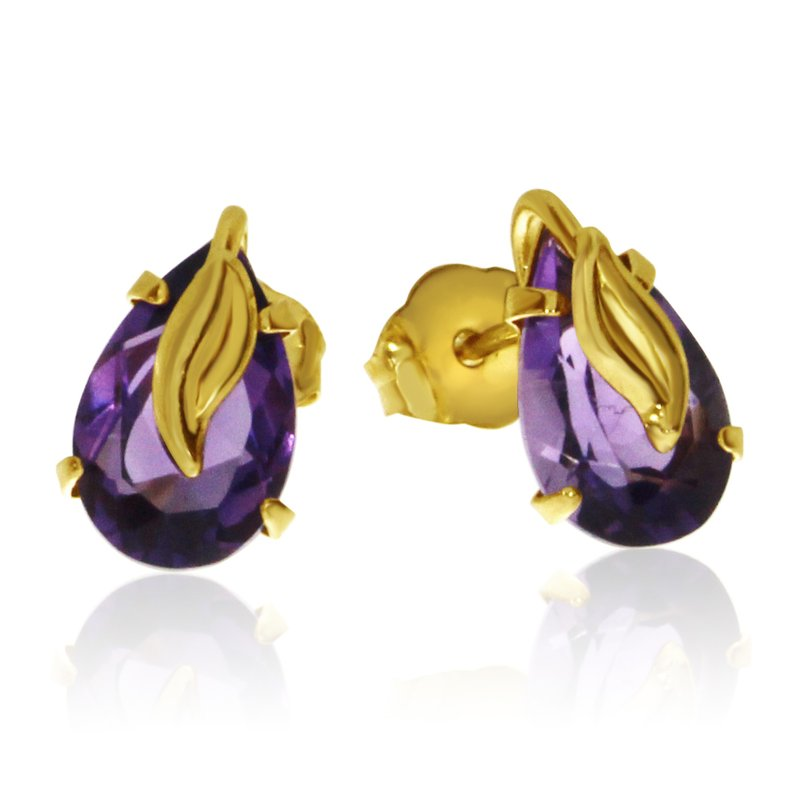 Color Merchants 14k Yellow Gold Pear Shaped Amythest Earrings