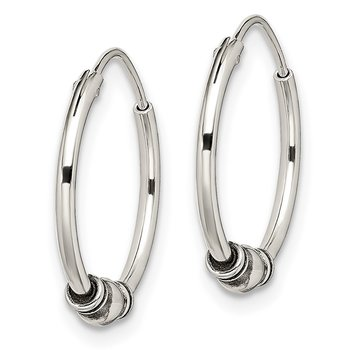 Sterling Silver Antiqued Beaded Hoop Earrings