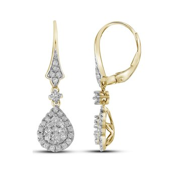 14kt Yellow Gold Womens Round Diamond Teardrop Cluster Dangle Earrings 7/8 Cttw
