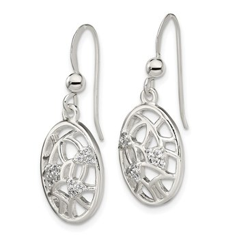 Sterling Silver Polished CZ Oval Dangle Shepherd Hook Earrings