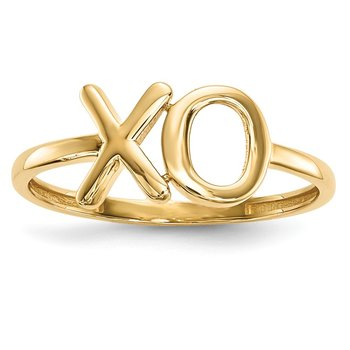 14k Gold Polished X-O Ring