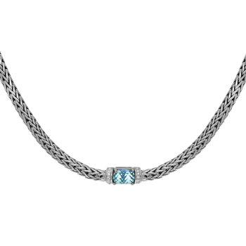 Sterling Silver Sapphire+Topaz Woven Necklace