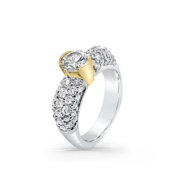 18K Two Tone Gold Diamond Retro Engagement Ring