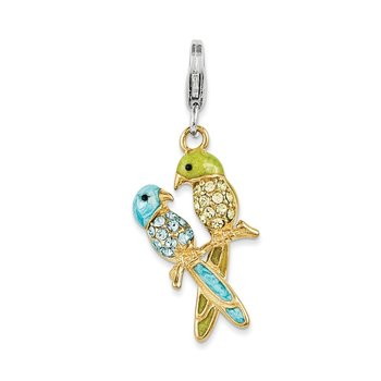 Sterling Silver Rhodium-plated Enamel Swarovski Crystals Love Birds Charm