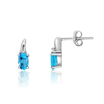 14k White Gold BlueTopaz and Diamond Earrings