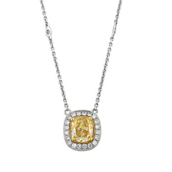 Yellow Diamond Halo Necklace