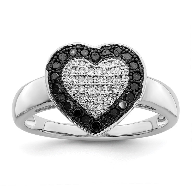 JC Sipe Essentials Sterling Silver Rhod Plated Black & White Diamond Heart Ring