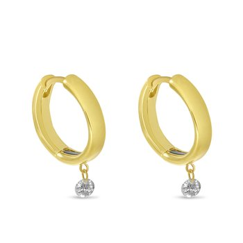 14K Yellow Gold Diamond Huggie Earrings with Magnetic Clasp