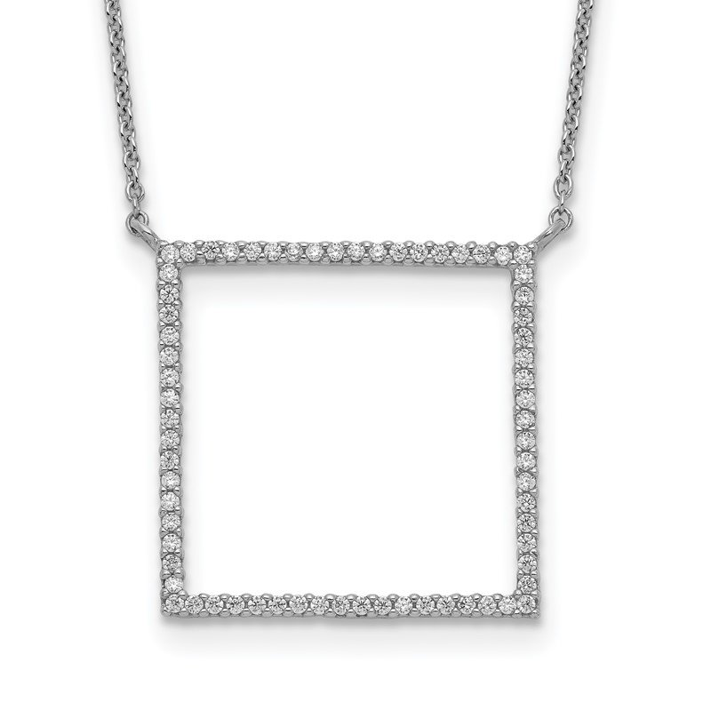 Quality Gold Sterling Silver Square CZ Necklace