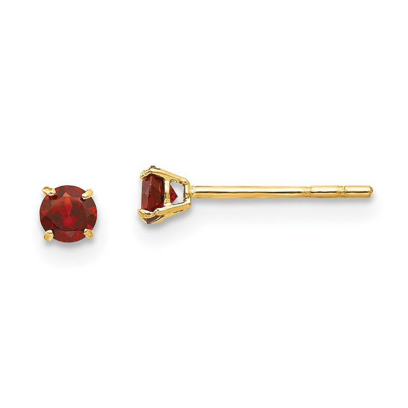 Quality Gold 14k Madi K Round Garnet 3mm Post Earrings