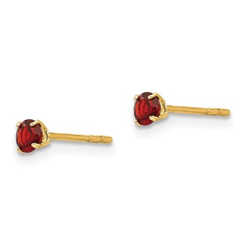 14k Madi K Round Garnet 3mm Post Earrings