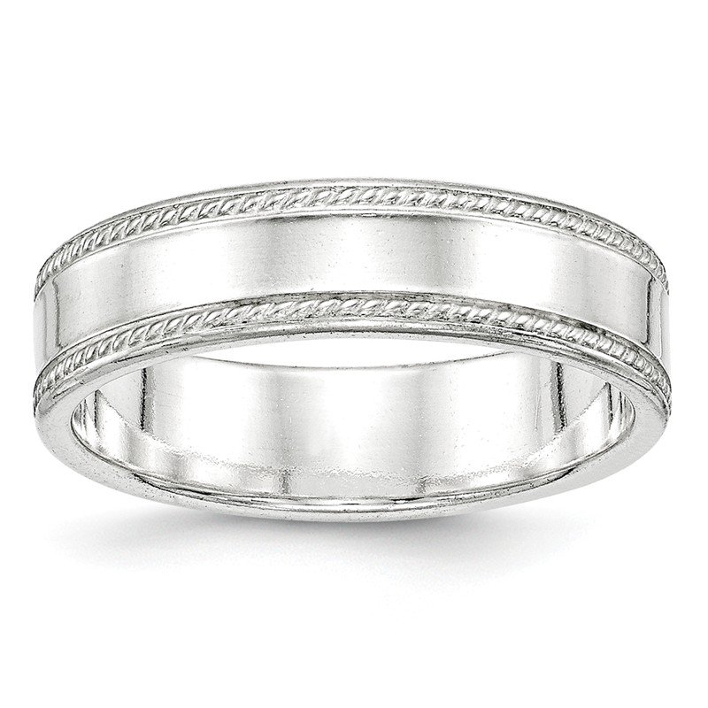 Quality Gold Sterling Silver 6mm Design Edge Band