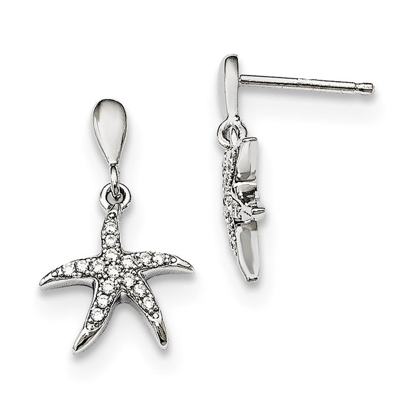 Quality Gold Sterling Silver & CZ Brilliant Embers Starfish Earrings