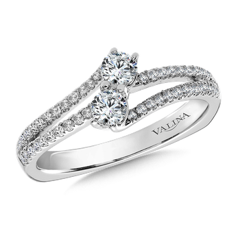 Two-Stone Diamond Engagement Ring Moutning in 14K White Gold (.46 ct. tw.)