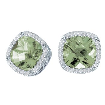14k White Gold Cushion Cut Green Amethyst And Diamond Earrings