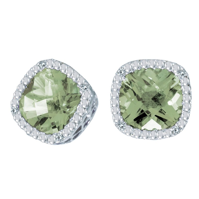 Color Merchants 14k White Gold Cushion Cut Green Amethyst And Diamond Earrings
