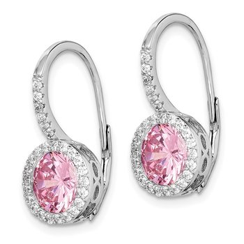 Sterling Silver Rhodium-plated Pink/White CZ Leverback Earrings