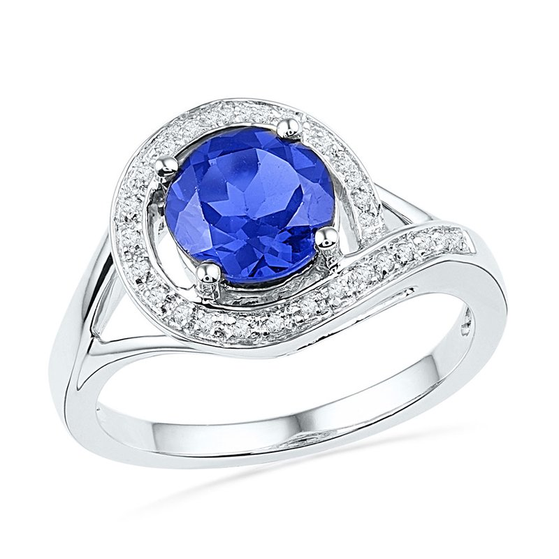 Gold-N-Diamonds 10kt White Gold Womens Round Lab-Created Blue Sapphire Solitaire Diamond Ring 1-7/8 Cttw