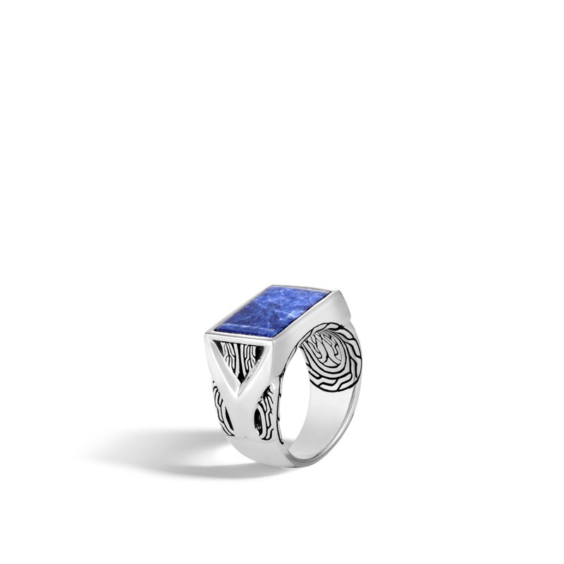 JOHN HARDY Asli Classic Chain Link Signet Ring in Silver with Gemstone