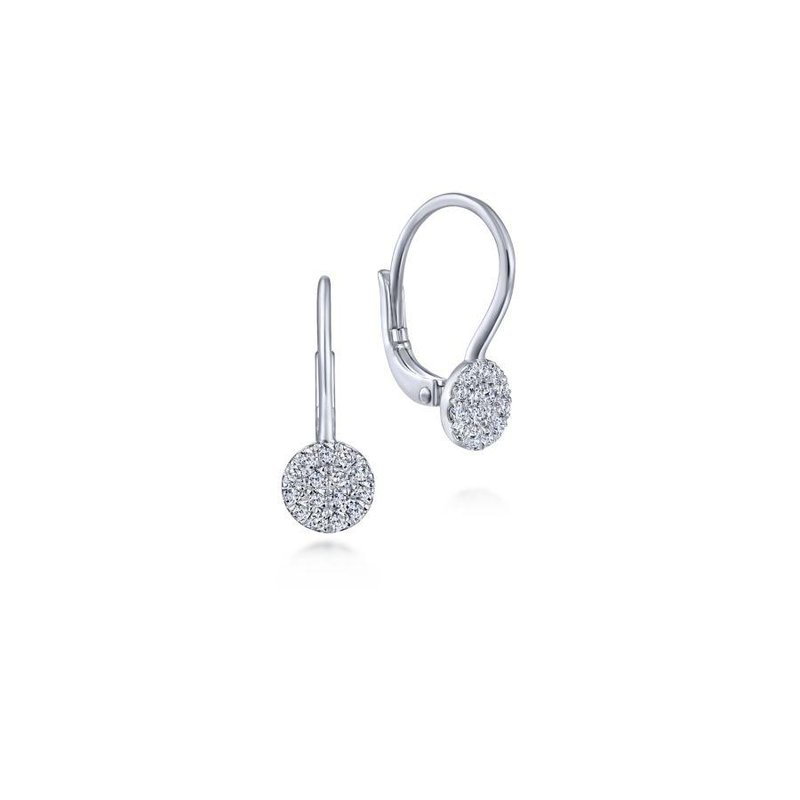 Gabriel Fashion 14K White Gold Round Pavé Diamond Drop Earrings