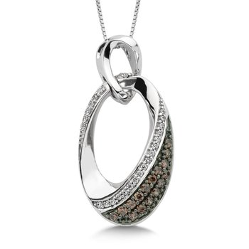 Pave set Cognac and White Diamond Angled Oval Design Drop Pendant in 10k White Gold  (1/3 ct. dtw.)