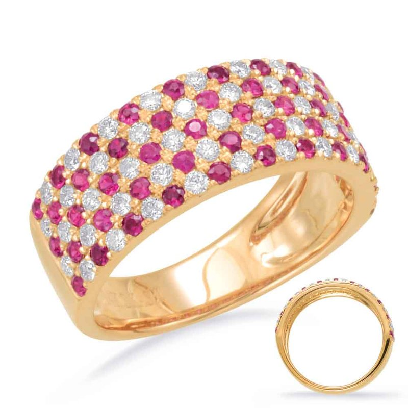 S. Kashi  & Sons Yellow Gold Ruby & Diamond Ring