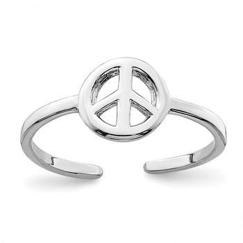 Sterling Silver Rhodium-plated Peace Sign Toe Ring