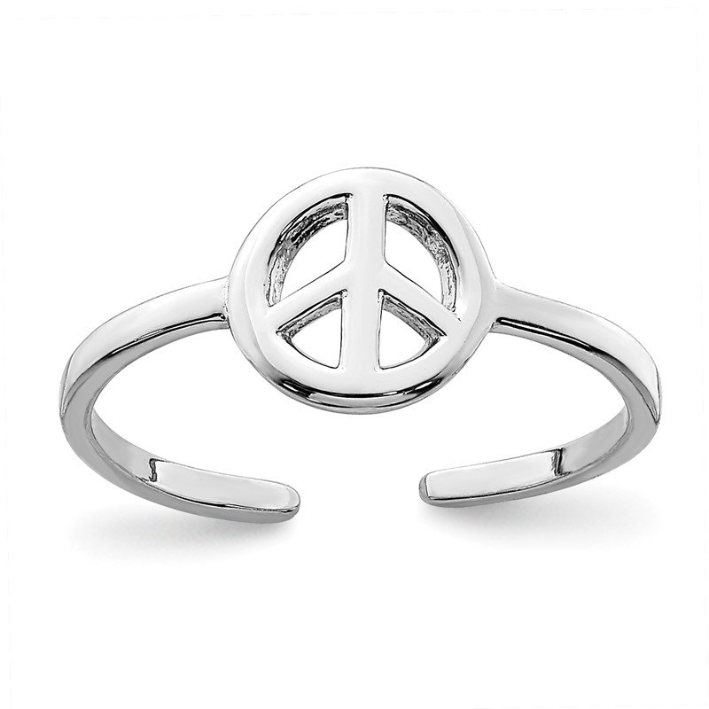 Quality Gold Sterling Silver Rhodium-plated Peace Sign Toe Ring