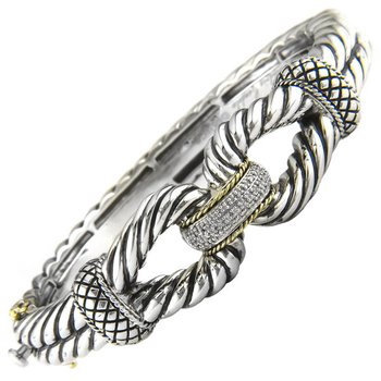 18kt and Sterling Silver Buckle Hinge Diamond Bangle