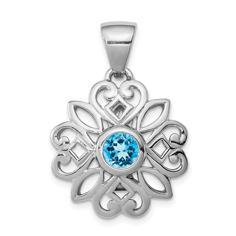 Quality Gold Sterling Silver Rhodium-plated w/Blue Topaz Flower Pendant