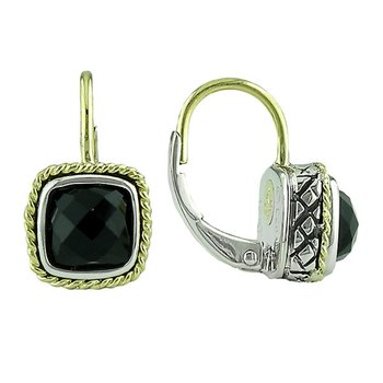 18kt and Sterling Silver Cushion Black Onyx Euro Wire Earrings