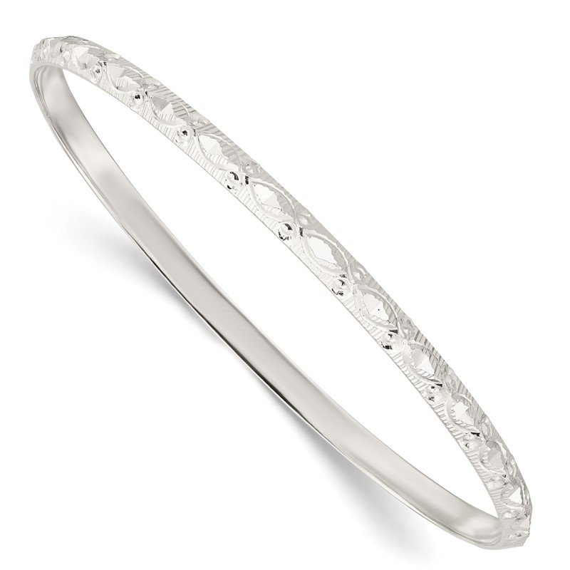 Quality Gold Sterling Silver Diamond Cut Patterned Slip-on Bangle
