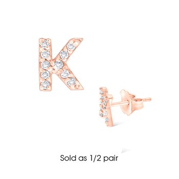 "Diamond Single Initial ""K"" Stud Earring (1/2 pair)"