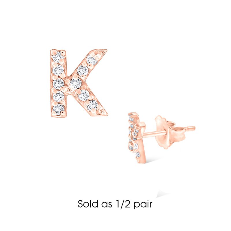 "KC Designs Diamond Single Initial ""K"" Stud Earring (1/2 pair)"