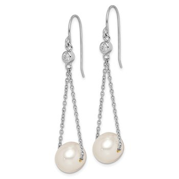 Sterling Silver Rhod-plat 9-10mm White FWC Pearl CZ Dangle Earrings