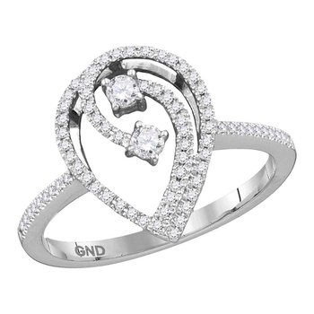 10kt White Gold Womens Round Diamond 2-stone Teardrop Bridal Wedding Engagement Ring 1/4 Cttw
