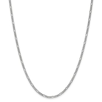 14k WG 2.5mm Semi-Solid Figaro Chain