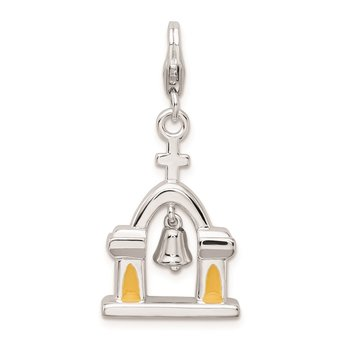 SS RH 3-D Enameled Church w/Moving Bell w/Lobster Clasp Charm